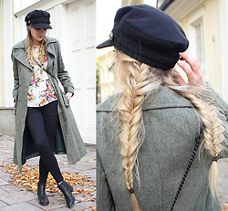 Linda R - Sol D Out Similar Here, Captain Hat, Zara Flower Print Top, Sold Out Similar Here Coat - BABE X