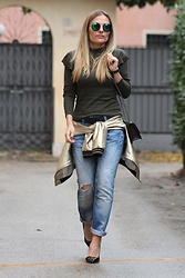 Eniwhere Fashion - Zaful Gold Bomber, Zara Green Shirt, Please Ripped Denim, Zara Black Heels, Coto Privado Gold And Green Minibag, Dezzal Chic Round Mirrored Sunglasses - Gold Bomber