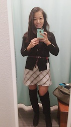 Jane Wang - H&M Grid Skirt, F21 Otk, Zara Knit Cardigan - Grid skirt OTK
