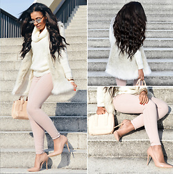 Chiara Culture With Coco - Quay Silver Mirror Sunglasses, French Connection Cable Knit Sweater, Amazon Faux Fur Gillet, Michael Kors Necklace Bracelet, Michael Kors Pastel Pink Bag, Amazon Nude Patent Heels, Asos Pastel Pink Denim Jeans - Pretty in Pink...