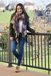 Kimberly Kong - Stitch Fix Plaid Scarf, Stitch Fix Utility Jacket, Stitch Fix Jeans - Wearing Stitch Fix From Head to Toe