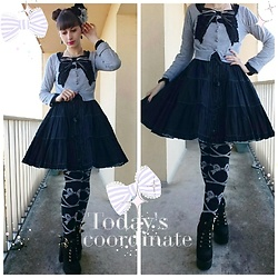 Yumi E.G. - Newyorker Cardigan, Metamorphose Skirt, Baby The Stars Shine Bright Ribbons Socks - Ribbon
