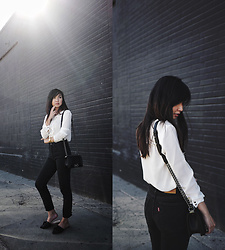 Tania H - Wayf Ruffled Blouse, Levi's Wedgie Icon Fit Jeans - Black and White