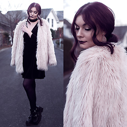 Selina K - H&M Fake Fur Jacket, H&M Black Velvet Dress, Jeffrey Campbell Black Boots - WE ALL NEED SOMEONE TO HOLD