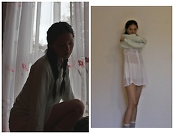 Tram Anh - American Apparel Sweater, Thrifted Shirt Dress, Champion Shorts - Mäda Primavesi