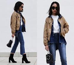 Esther L. - Sheinside Beige Bomber Jacket, Romwe Frayed Denim Shirt, Romwe Round Neck Top, Stylewe Assymetric Jeans, Giant Vintage Black Sunnies, Zaful Metal Ring Bag, Mango Wide Heel Ankle Boots - LAYERED JACKETS
