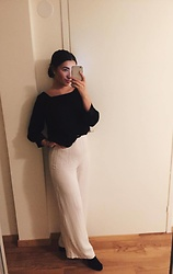Mirella T. - H&M Trousers, Lindex Blouse - The White Wide Legged Trousers