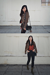 Tania H - Banana Republic Shoulder Bow Top, Banana Republic Canton Boots, Zara Suede Effect Jacket, Chloé Faye Small Shoulder Bag - Fall colors