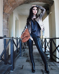 Narjisse Ammor - Zara Jacket, Oysho Top, Patricia Nash Bag, J Brand Leather Pants, Tod's Boots, Zara Choker - Metallic Matters