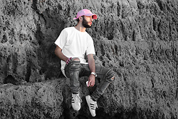 Younes Bouadi - Pink Hat, White Natsu Very High Quality Tee, Vintage Mid Blue Designer Skinny Biker Jeans, Adidas Superstar, Hunger - Seeing too much till u can't see anythin'