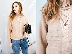 Kristina Magdalina - Zaful Sweater, Wholesale7 Jeans, Zaful Bag - BRAIDED NECK SWEATER.