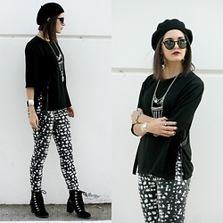 Lexi L - Greenpoint Girls Black Top, Free People Printed Skinny Jeans, Lucky Brand Lace Up Ankle Boots, Black Beret - Crave