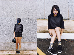 ☽ Lara Kneip ☾ - Dc Shoes Sneaker, Blue Steel Shorts, Riachuelo Adventure Time Socks - Black & Grey
