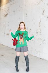Ashley Hutchinson - Asos Pug Christmas Reindeer Sweater, Banana Republic Tweed Mini Skirt, Dune London Gray Suede Over The Knee Boots, Gucci Red Dionysus Bag, Red Bow Embellishments - Pug Christmas Sweater