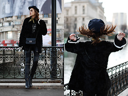 Andreea Birsan - Newsboy Cap, Leather Pointed Toe Ankle Boots, Leather Moto Pants, Leather Crossbody Bag, Faux Fur Coat, Bell Sleeve Top, Printed T Shirt, Skinny Scarf - Beginner's guide to wearing a black faux fur coat