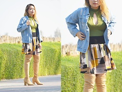 ALY - Sheinside Buttoned Front Ripped Light Blue Denim Jacket, Rosegal Bodysuit, Rosegal Fashionable High Waisted Multicolor Printed Slimming Women's Skirt, Amiclubwear Nude Pointy Toe Chunky Heel Thigh High Boots Faux Sueded - Whatever keeps you warm inside