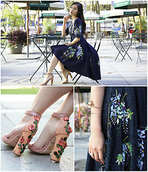 Tina Lee - Dolce & Gabbana Floral Heels - Romantic Florals in Bryant Park
