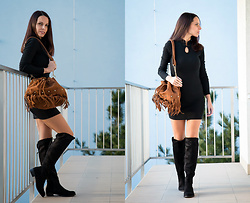 Tina Miskerik - Sammydress Black Dress, Sammydress Camel Bag, Sammydress Gold Rings - Sammydress look
