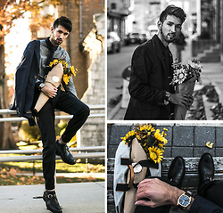 Bobby Raffin - Guidomaggi Elevator Dress Shoes, Knut Gadd Gold And Leather Watch, Descendant Of Thieves Dress Shirt, Descendant Of Thieves Blazer, Bows N Ties Tie - Flowers for Gail.