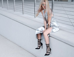 Venetia Kamara - Pop Cherry Silver Dress, Zaful Strappy Heels - S I L V E R