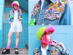 Kate Hannah - P'junk Fluff Cap (Made By Me), Custom Denim Jacket (Thrifted, Then Customized By Me), Alexander Wang Flightsuit, Platform Shoes (Thrifted) - Blank Canvas