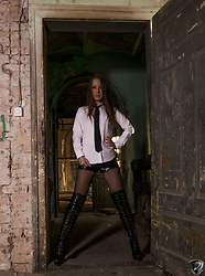 Aevoulette Benssalconia - Azzaro Shirt, New Yorker Tie, New Yorker Pvc Shorts, Belle Boots Over Knee - Sound of the Underground