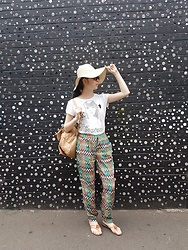 Amy Liu - Christian Dior Sunnies, Target Sunhat, Shirt, Ses Harem Pants, Novo Sandals, Colette Backpack - Relaxed: an OOTD for the sweltering summer