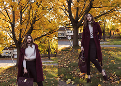 Aileen Belmonte - Light In The Box Coat, Uniqlo Grid Print Trousers, Zara Turtleneck, Michael Kors Hamilton Tote Bag, Charles And Keith Moleskin Flats - Merlot