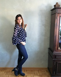 Ivana - Sheinside Blouse With Dots And Ruffled Sleeves, Zara Pants, Funky Shoes Boots - Dots & Ruffles