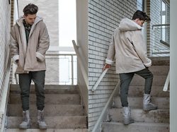 Corey Z - Thrifted Suade Fur Lined Jacket, Nid De Guêpes Camo T Shirt V2, Nid De Guêpes Khaki Brown Sweatpants, Adidas Yeezy Boost 950 Moonrock - Used to This