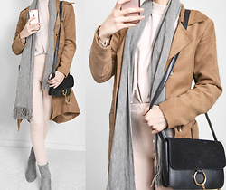 Tia Mcintosh - Nordstrom Pink Turtleneck, Sheinside Camel Coat, Bed Bath & Beyond Grey Scarf, Forever 21 Pink Zip Leggings, Missguided Grey Boots, Romwe Black Ring Bag - Fall Layers