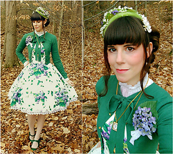 Tyler H - Thrifted And Altered Cardigan, Handmade Violets Jsk, Ebay Dot Stockings, Mojo Moxie Green Heels, Vintage Store Violet Hat, Lisner Vintage Dogwood Pin, Handmade Violet Corsage, Vintage Violet Pendant, Handmade White Ruffle Blouse - Winter Violets