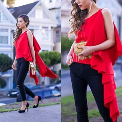 Sasa Zoe - Less Than $90 Ruffle Top, Clutch, Earrings, Jeans, Heels - CASCADING RUFFLES