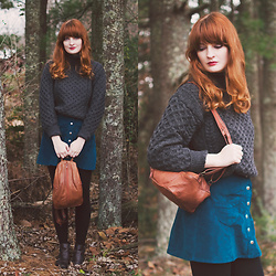 Anna C. - Aran Sweaters Direct Turtleneck Irish Knit Sweater, Asos Baby Cord Teal Skirt, 70s Bag - Cable Knit and Honeycomb
