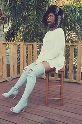Robyn The Bank - Urban Outfitters Sweater, Luxetokill Maya Denim Boots - OMG!! Denim Boots