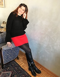 Ivana - Gamiss Chunky Sweater With Bell Sleeves, Zara Mini Skirt, Cinti Long Boots With Zippers - Stylish Winter