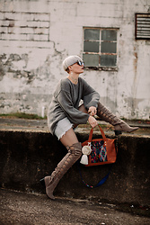 Olivia Hargrove - Jay Nicole Jewelry The Multi Cross Choker, Jay Nicole Jewelry The Dagger Earrings, Boheme Goods Knit Sweater, Faryl Robin Ladder Over The Knee Boot, Nena & Co. Medium Carryall Bag, Minkpink Mink Pink Shades - Bag Lady