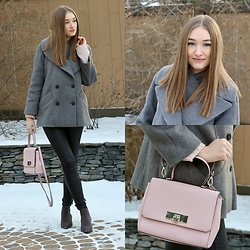 Taylor Doucette - Michael Kors Pink Satchel, Old Navy Grey Suede Booties, Asos Oversized Peacoat, Vero Moda Coated Denim - California Dreamin'- Amason