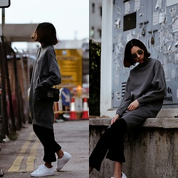 Kara C - Monki Sweater Dress, Adidas Superstar White Sneakers - Simply Big
