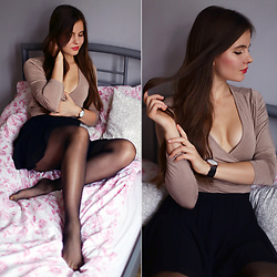 Ariadna Majewska - Beige Blouse, Mini Skirt - Sensual songs (look on my blog!)