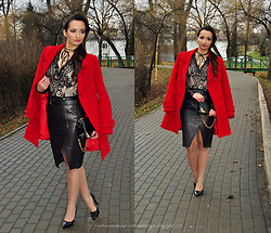 Natalia Uliasz - Allegro Choker, Elegant Body With Sequins, Red Coat, Mohito Leather Skirt - Christmas set I