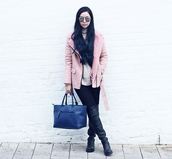 Jen Lou M - Zerouv Mirrored Aviators, Missguided Pink Faux Shearling Jacket, Deichmann Over The Knee Boots - I've got my doubts, and what if I'm right?