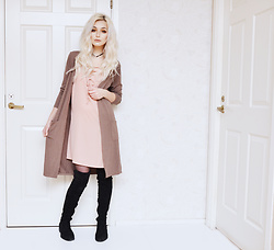 Julia Nilsson - Romwe Cardigan, Boohoo Pink Slip Dress, Missguided Over Knee Boots, Romwe Choker - Neutrals