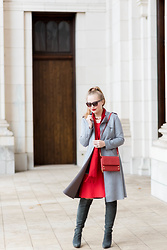 Ashley Hutchinson - Choies Gray Suede Trench Coat, Hammitt Red Crossbody Bag, L.K. Bennett Red Dress, Dune London Gray Suede Boots, Reiss Red Wool Scarf - Scarlet & Steel