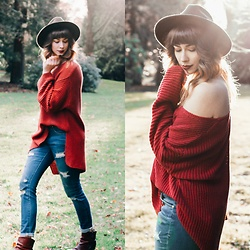 Mackenzie S - Levi's® Levi's Wool Hat, The Frye Company Booties, Wild Peach Oversized Sweater, Jag Jeans Sheridan Skinny - A Walk in the Park