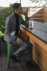 Topher Park - H&M Slim Fit Suit In Gray, Banana Republic Italian Merino Turtleneck In Navy, Uniqlo Dark Gray Patterned Socks, Zara Black Ankle Boots With Buckle - 커 피 | c o f f e e