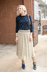 Taylor Reese - J.Crew Gold Star Sweater, Highline Collective Metallic Pleated Skirt - Metallic Pleated Skirts & Gold Stars
