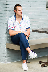 Wes Lambert - Adidas White Sneakers, J. Crew Dress Pants, Dress Shirt, Timex Watch - Set Sail