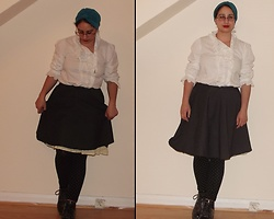 Selina M - Swapped Frilly Shirt, Self Made Petticoat Skirt, Rokit Polka Dot Leggings, Beyond Retro 30s Turban - On the jukebox: April showers by ProtelR