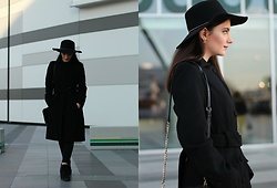 Sirja Strazimiri - Espirit Coat, Lindex Jeans, Stradivarius Fedora Hat, Asos Earrings - An all black outfit for the winter